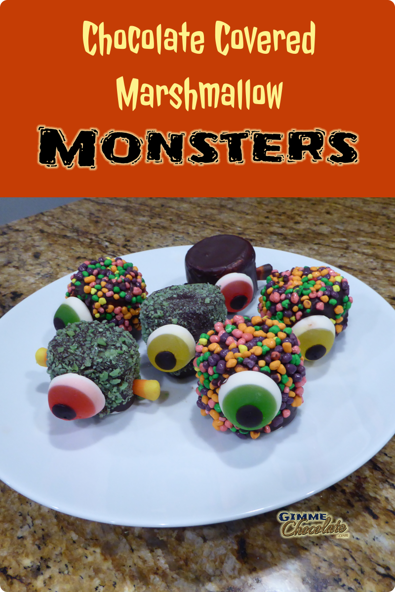 chocolate covered marshmallow monsters