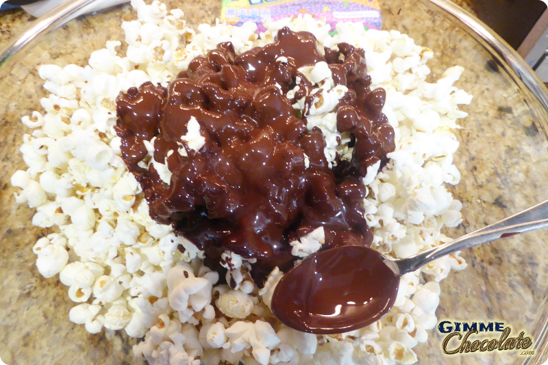 Chocolate on popcorn