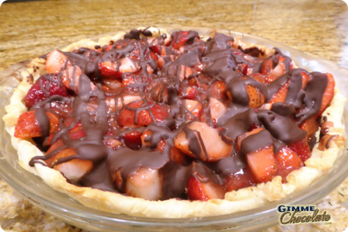 Heavenly Chocolate Drizzled Strawberry Pie
